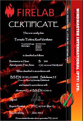 Tornado Ventilator Firelab Certificate