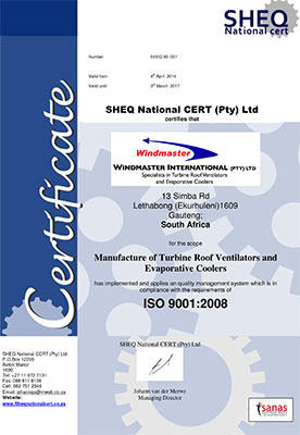 SHEQ ISO 9001:2008 Certification